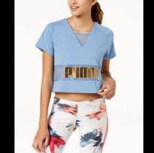 PUMA Exposed Metallic Logo Cropped Shirt